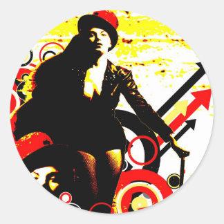 Sticker Rond Séduction nostalgique - interprète lascif