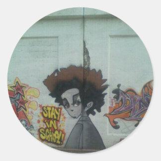 Sticker Rond Séjour dans l'art de rue de Chicago d'école