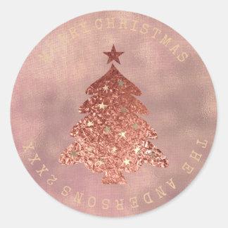 Sticker Rond Sépia rose de toile d'or d'arbre de Joyeux Noël