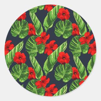 Sticker Rond Série sans couture 3 de motif de feuille tropical