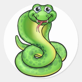 Sticker Rond Serpent amical de cobra de bande dessinée