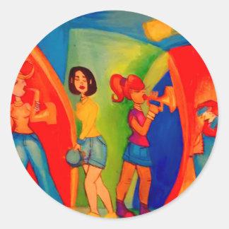 Sticker Rond Session de confiture de bande de fille