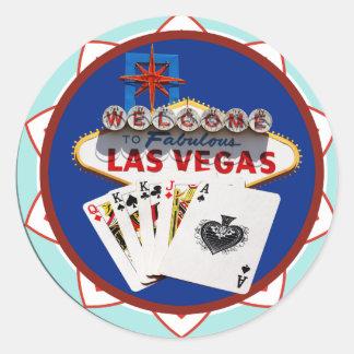 Sticker Rond Signe de Las Vegas et jeton de poker de cartes