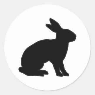 Sticker Rond Silhouette de lapin