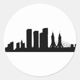 Sticker Rond Silhouette de paysage urbain