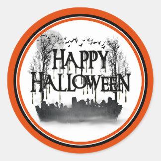Sticker Rond Silhouette de scène de cimetière de Halloween