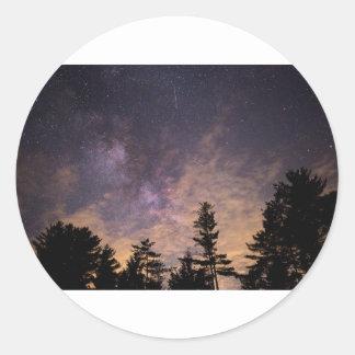 Sticker Rond Silhouette des arbres la nuit