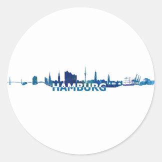 Sticker Rond Silhouette d'horizon de Hambourg