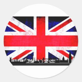 Sticker Rond Silhouette d'horizon de Londres