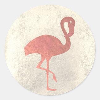 Sticker Rond silhouette rose élégante de flamant d'or