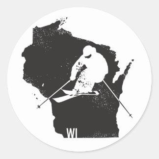 Sticker Rond Ski le Wisconsin