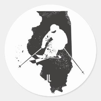Sticker Rond Ski l'Illinois