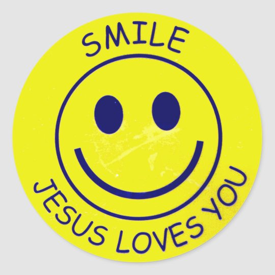Sticker Rond Smile Jesus Loves You