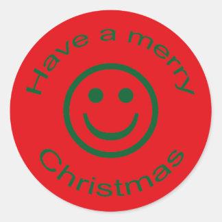 Sticker Rond Smiley de Joyeux Noël
