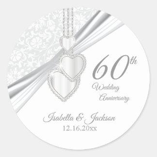 Sticker Rond soixantième Anniversaire de noces de diamant
