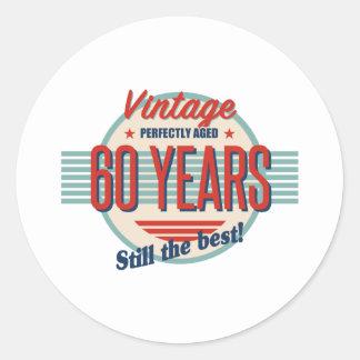Sticker Rond Soixantième old-fashioned drôle d'anniversaire