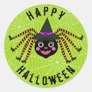 Sticker Rond Sorcière Halloween heureux d'araignée