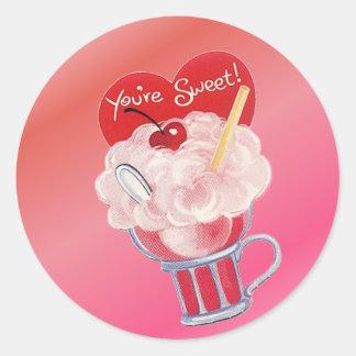 Sticker Rond Soude de crème glacée de Valentine