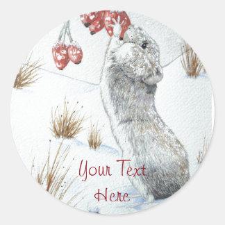 Sticker Rond Souris mignonne et art rouge de faune de scène de