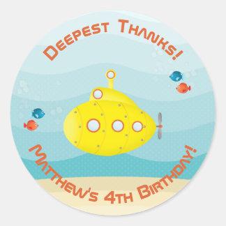 Sticker Rond Sous-marin de jaune de mer profonde