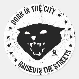 Sticker Rond Soutenu dans la ville, augmentée dans les rues.
