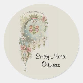 Sticker Rond Souvenir catholique Mary de première sainte