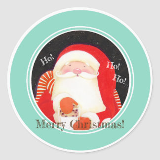 """Sticker Rond """"Soyez gai ! """"Autocollants de Noël de Père Noël"""