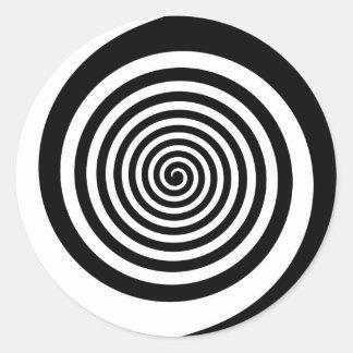 Sticker Rond Spirale hypnotique noire et blanche