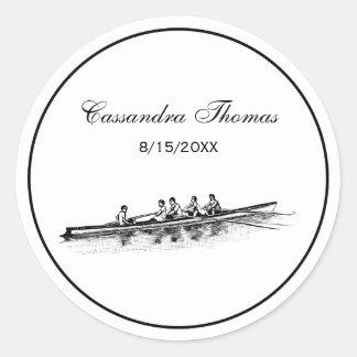 Sticker Rond Sports aquatiques d'équipe d'équipage de rameurs