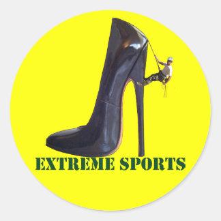 Sticker Rond Sports extrêmes drôles - escalade de chaussure