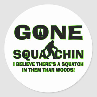 Sticker Rond Squatchin allé Bigfoot en bois