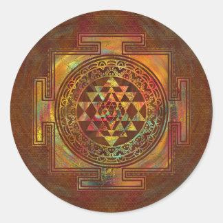 Sticker Rond Sri coloré Yantra/Sri Chakra