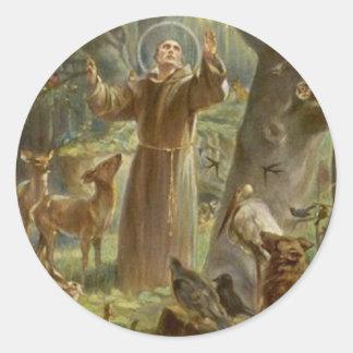 Sticker Rond St Francis d'Assisi a entouré par des animaux