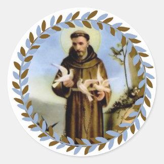 Sticker Rond St Francis du saint patron d'Assisi des animaux