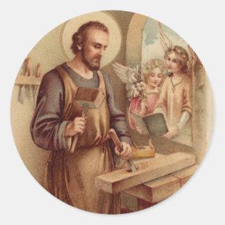 Sticker Rond St Joseph, enfant Jésus, banc d'outils d'anges