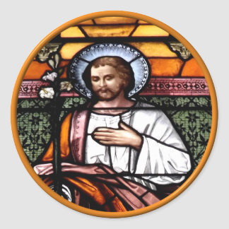 Sticker Rond St Joseph prient pour nous - la fenêtre en verre