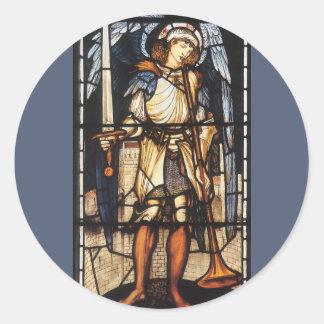 Sticker Rond St Michael par Burne Jones, Arkhangel vintage