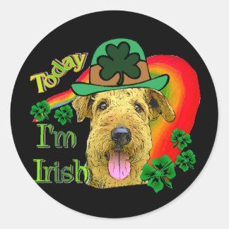 Sticker Rond St patrick d'Airedale Terrier