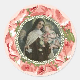 Sticker Rond St Therese de l'enfant Jésus peu de fleur