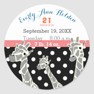 Sticker Rond Stat de naissance de disque de naissance de bébé
