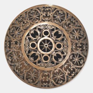 Sticker Rond Steampunk antique de bronze en métal de Vatican