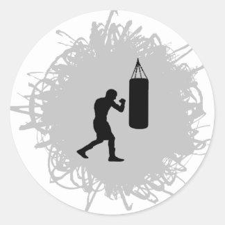 Sticker Rond Style de boxe de griffonnage
