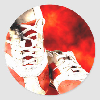 Sticker Rond Style de grunge d'athlète de coureur de chaussures
