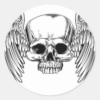 Sticker Rond Style vintage à ailes de gravure sur bois en crâne