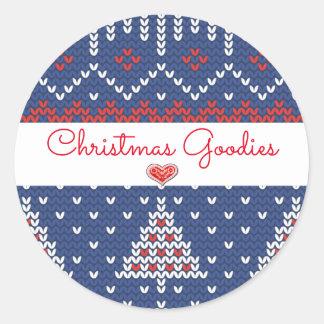 Sticker Rond Sucreries bleues blanches rouges de Noël