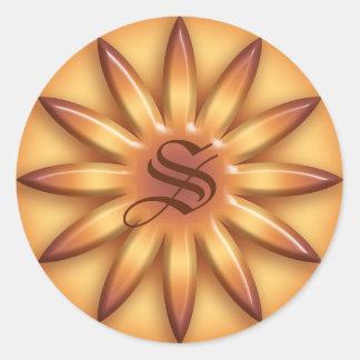 Sticker Rond Sun ethnique. Texture géométrique de gradient.