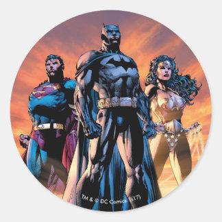 Sticker Rond Superman, Batman, et trinité de femme de merveille