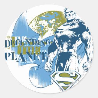 Sticker Rond Superman | défendant la planète