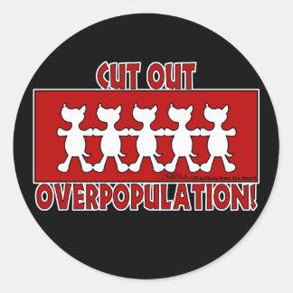 Sticker Rond Surpopulation coupée ! Chiens
