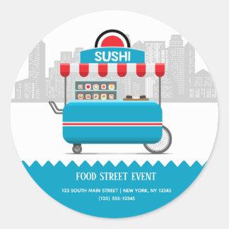 Sticker Rond Sushi de nourriture de rue